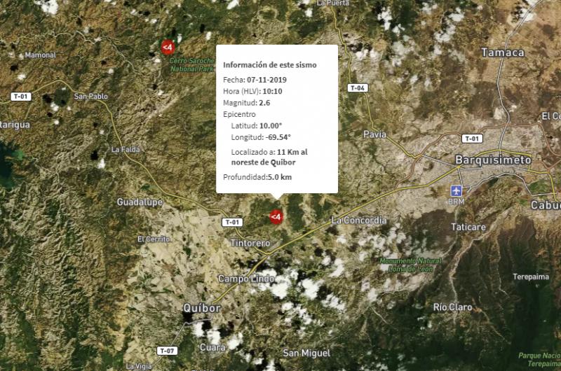 Funvisis regitró temblor de 2.6 en Quíbor - La Prensa de Lara
