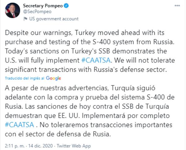 Cuba condena sanciones de EE.UU. contra Turquía